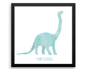 Dinosaur Framed Nursery Print – Blue Brontosaurus