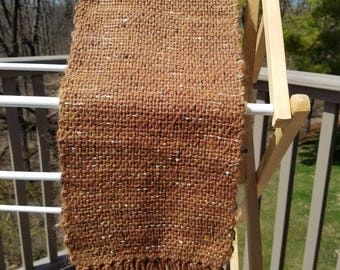 Bronze wool with gold/brown metallic novelty yarn accents scarf