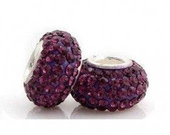 Sterling Silver Purple Rhinestone Charm