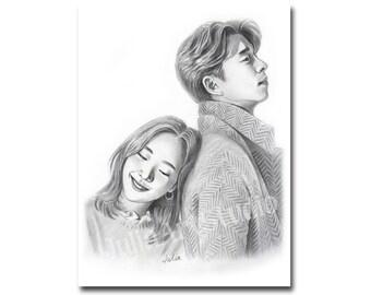 Goblin Korean drama pencil drawing portrait instant download
