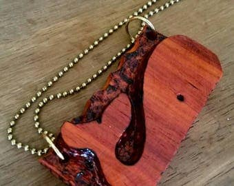 pauduk wood whale necklace. charms,pendant,necklace,handmade