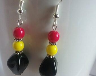 Black/hot pink/ yellow earrings
