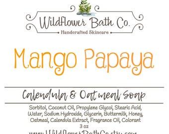 Mango Papaya | Calendula & Oatmeal Soap | Calendula Soap | Oatmeal Soap | Mango Soap | Papaya Soap | Mango Papaya Soap