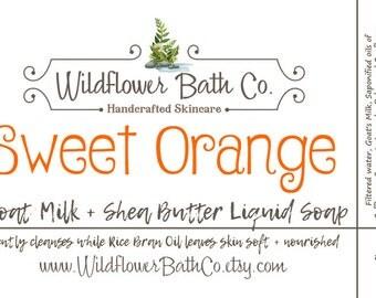 Sweet Orange | Goat Milk & Shea Butter Liquid Soap | Natural Liquid Soap | Liquid Soap | Goat Milk Liquid Soap | Shea Butter Soap
