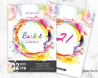 Art Party Birthday Invitation, Art Party Invitation, Art Party Invite, Painting Party, Art Painting Party, Boys Invite, Girls invite, Adults