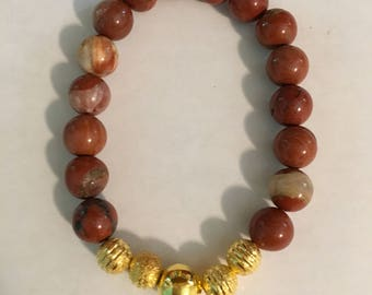 Red Jasper Beaded Stretch Bracelet