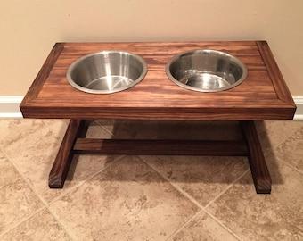 Wood Dog Bowl Stand