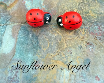Wooden ladybird earrings, studs. Handcrafted