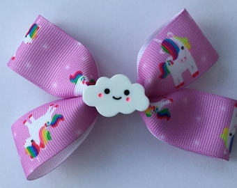 Small boutique hair bow- clouds bow - pink hair bow - kawaii hair bow - hair bow accessory- pink hair clip - bows