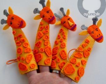 FİNGER PUPPET GIRAFFE Finger puppets Felt finger puppets Finger toys Animal finger puppets Felt puppets Puppets for kids Puppet theatre