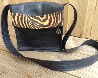 Ladies handbag, waterproof bag, cross body bag, shoulder bag, day bag, animal print bag, Ladies bag made from recycled rubber inner tubes