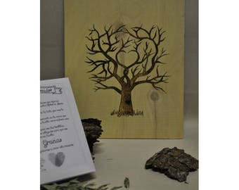 Pyrography traces wood tree