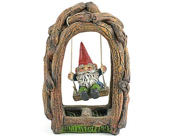 Gnome on a Swing - 5 x 3.5 inches - Resin - Miniature Fairy Garden Dollhouse