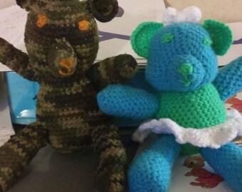 Crocheted Stuffed Girl Bear