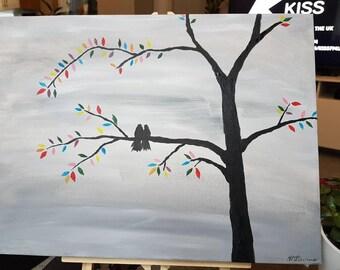 Love birds multicolour tree abstract acrylic box canvas painting