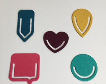 Card topper / scrapbooking / journal projects / paper crafting - brightly coloured paper clips -Alternative colours available
