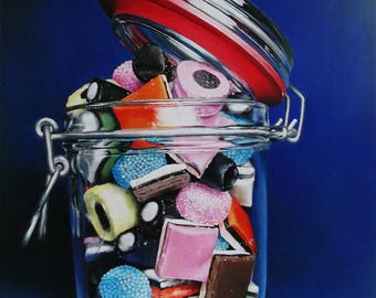 Sweets original, Acrylic painting, art, photorealism, Liquorice allsorts