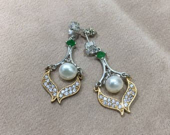 Ottoman Style Handmade Silver Earrings With Pearl