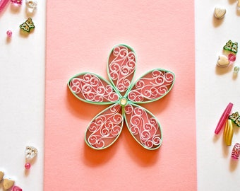 Handmade Quilled Card, Quilled Card, Quilling Card, Greeting Card, Handmade Card, Valentine's Day Card, Birthday Card, Mother's Day Card