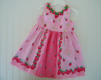 Strawberry sundress for girls age 4 to 5