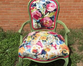 Vintage Chair, Queen Anne Chair, Painted Chair, Arm Chair, Reupholstered Chair, floral chair, Green chair, Wooden chair, Flower Chair