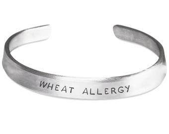 WHEAT ALLERGY - Medical ID Alert Bracelet - Gluten Allergies - Celiac Disease - Food Allergies - Stamped Metal Bangle - One Size Fits All