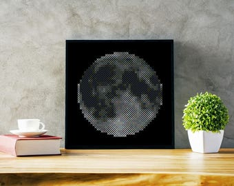 Moon Cross Stitch pattern - PDF Instant Download