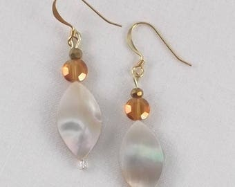 Drop Dangle Earrings Oval Mother of Pearl Peach Tint with Faceted Glass Beads