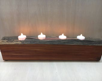 Reclaimed cedar candle holder