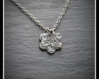 Engraved Flower Pendant - Silver Precious Metal Clay (PMC), Handmade, Necklace - (Product Code: ACM025-17)