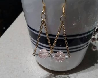 Icy pink and gold earrings