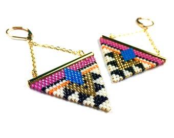 BO WAKANDA Triangle and chain brass gilded gold end 24 K and Miyuki Delicas