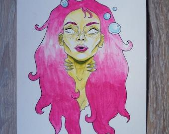 Watercolor Pink Mermaid