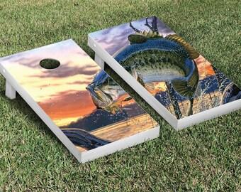 Largemouth Bass Cornhole Vinyl Wrap! Full Digital Print Custom made to order.