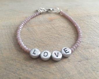 Handmade sparkling bracelet LOVE