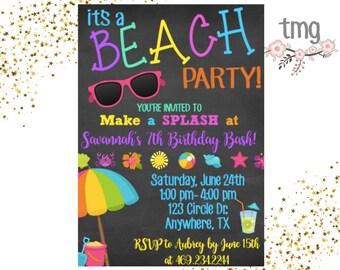 Beach Party Invitation, Beach themed party, Beach Birthday, Birthday invitation, Digital File, Printable Invites