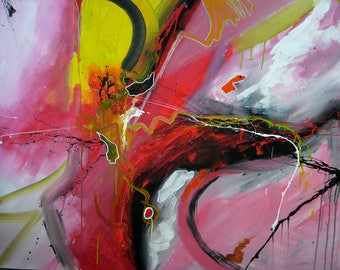 Large UNSTRETCHED CANVAS Original Abstract Acrylic Painting, Acrylic Painting on Canvas