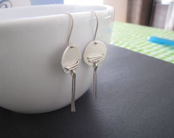 Sterling Silver Disc Dangle Earrings Chic Drop and Dangle Earrings All day Stylish Earrings Handmade Hammered Earrings for her