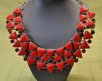 Bright Red Vintage 925 Silver Bib Necklace