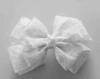 Hairbow white - lace - pearl