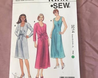 Vintage sewing paper pattern 90's dress tie up shirt size XS- XL