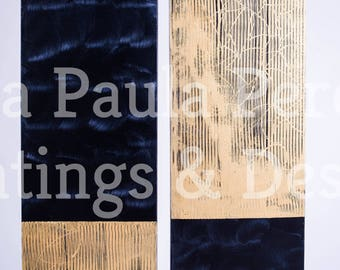 Abstract acrylic painting dark navy and gold companion painting 12 X 36 canvas