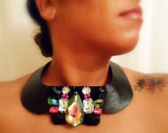 Leather butterfly bib collar / neckace