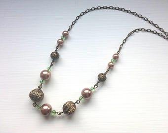 Bronze Tone Motif & Pearls Beaded Necklace