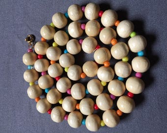 Genuine Wood Beaded Necklace