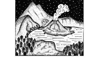 Mountain scene illustration