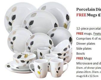 Porcelain Dinner Set with Free Mugs