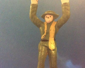 Hands Up Vintage Iron Casted Soldier