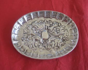 Antique Repousse  Sterling Silver Trinket Dish - 1853