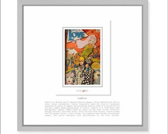 Wall decoration in a frame. FALLING IN LOVE (1968).3D Comic Poster in Shadow Box.